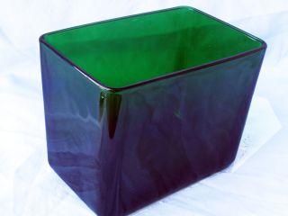 VTG NAPCO CLEVELAND OHIO BEAUTIFUL DARK EMERALD GREEN GLASS RECTANGLE