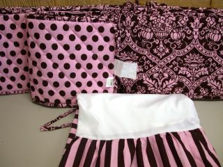 Pc Tadpoles Crib Set ~ Paisley Polka Dots & Stripes ~ Pink