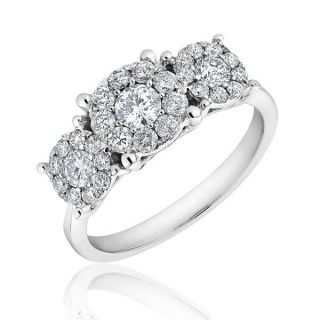 Gold Three Stone Diamond Flower Cluster Engagement Ring 1ctw