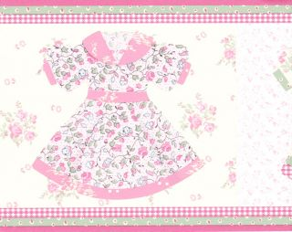 Baby Girl Kids Dresses Pink Grn Wallpaper Border Wall