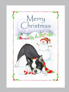 Boston Terrier Dog Christmas Cards, Box of 16 Cards & 16 White