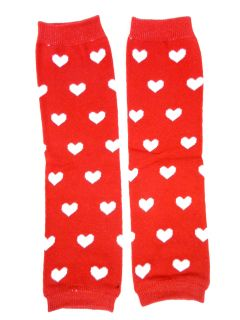 Girls Valentines Heart Print Baby Leg Warmers in Pink Red White Cute