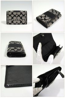 Coach Signature Stripe Compact Clutch Wallet Black White 45802