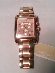 New Michael Kors Oversized Rose Gold Square Watch MK5488 Retails for $