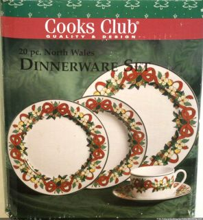 Cooks Club 20 PC North Wales Christmas Porcelain Dinnerware Set