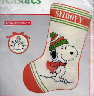 Treasures Needlepoint Christmas Stocking Kit SNOOPY+ Free Ornament NEW