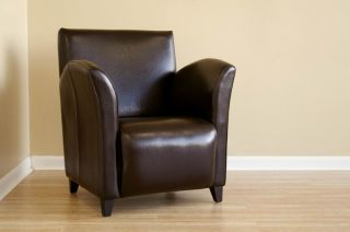 New Dark Brown 100 Italian Full Leather Club Chair A81