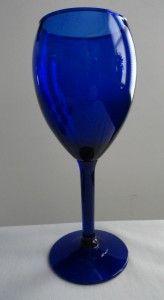 Cobalt Blue Tall Stemmed Wine Water Glasses Set of 7 8 Oz
