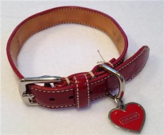 COACH Dog Collar, Sz Small, Red Patent Leather w/ Heart Bone Gromets