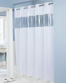 74 Easy Hang Beige Vinyl Hotel Shower Curtain w Clear Window