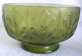 Vintage F T D Oak Leaf Green Glass Bowl 1975