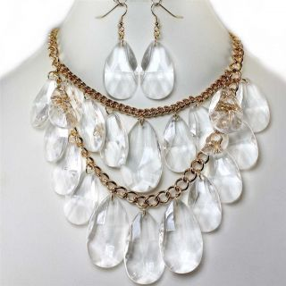 Chunky Layered Clear Ice Crystal Bead Bib Earrings Necklace Set