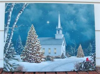 Large Lighted Christmas Canvas Church at Night Winter Sky LED Too Cool