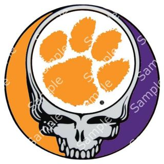 Clemson Tigers Grateful Dead Steal Your Face 3 Round Vinyl Decal