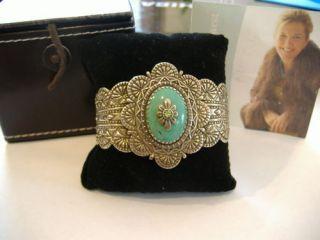 Carolyn Pollack Turquoise & Peridot Sterling Silver Bracelet BEAUTIFUL