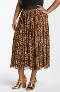 Vince Camuto Textured Spots Animal Print Skirt (Plus)