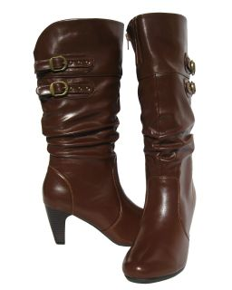Womens Cognac Fashion Mid Calf Boots Slouch Winter Snow Shoe Ladies