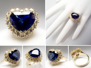 Blue Sapphire & Halo Diamond Cocktail Ring Solid 18K Gold skuwm6812