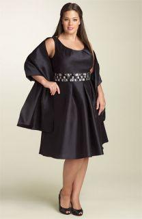 Patra Sleeveless Taffeta Dress with Beaded Waist (Plus)