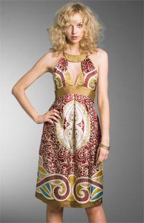 Nicole Miller Keyhole Print Silk Dress
