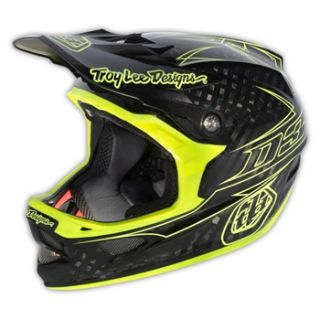 Troy Lee Designs D3 Carbon   Pinstripe Yellow 2013