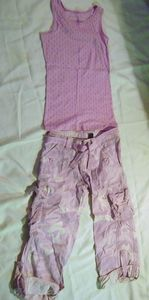 camo cargo pants circo purple tank top size 12 pants 10 12 tank top