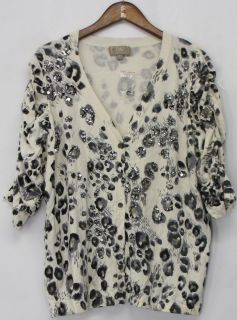 Kelly by Clinton Kelly Size 1x Animal Print Cardigan Sweater Gray New