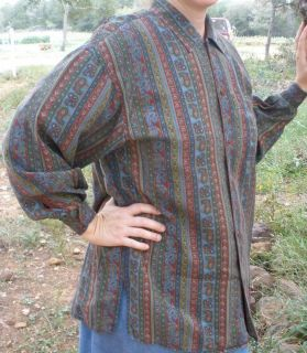ladies modest blouse tunic shirt top M Lizwear rayon paisley long
