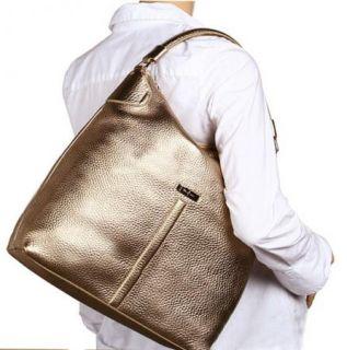Cole Haan Avery Village Collection Gold Leather Medium Hobo Handbag $