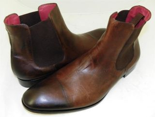 New Mezlan Custom Ciro Ankle Boots Mens Leather Shoes Dark Brown SZ 13