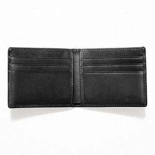 New Coach Mens Signature Embossed Black Leather Slim Billfold Wallet