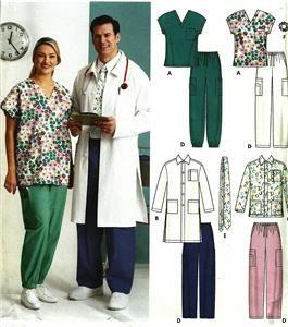 Scrubs Pants Tops Lab Coat Jacket Simplicity Mens Ladies Pattern 5443