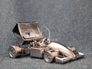 Miniature Clocks Chrome Indy Race Car Mini Clock