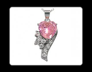 Fashion Jewelry Gift Pink Sapphire White Gold GP Pendant Necklace