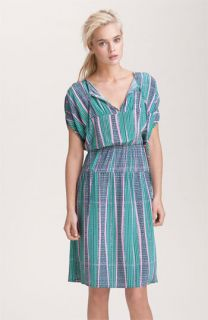 Tucker Print Silk Peasant Dress
