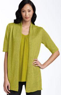 Eileen Fisher Elbow Sleeve Linen Cardigan