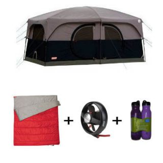 Coleman Nine 9 Person Cabin Tent   Hampton   Sleeping Bag ,Fan and