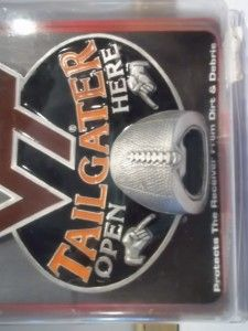 VIRGINIA TECH WALL MOUNT BOTTLE OPENER HITCH COVER COLLEGE FOOTBALL