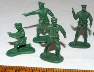 Green Plastic Toy Policemen Lot Cop 2 All Different
