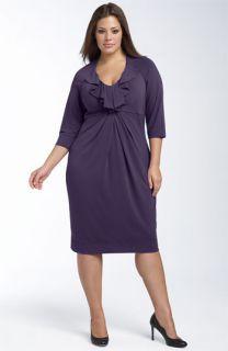 Donna Ricco Ruffled Jersey Dress (Plus)