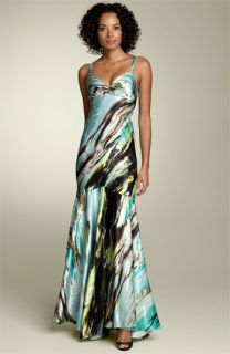 Mary L. Couture Tie Back Charmeuse Gown