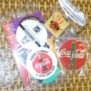 Coca Cola Memorabilia Lapel Pin Pogs Key Ring