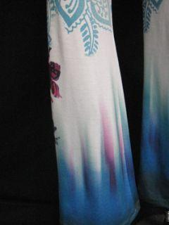 Claire Pettibone Bright Polynesian Aqua Fucshia Print Long Jersey Yoga