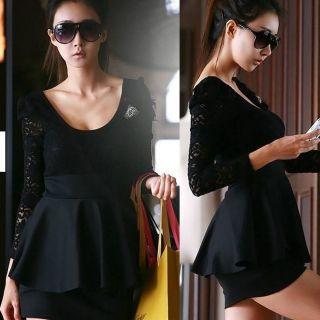 Sleeve Black Lace Clubwear Clubbing Cocktail Party Mini Dress 705B