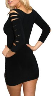 New Sexy Women Black Long Sleeve Clubbing Dress Fashion Clubwear