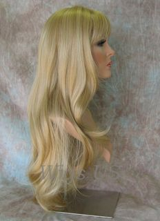 Wigs New Golden Blonde Mix Long Layers Skin Part Bangs Wig US Seller