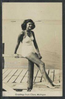 mi clare rppc 40 s bathing beauty woman in swimsuit description the