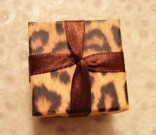 T130 Cute Leopard Silk Jewelry Box Gift Case for Ring Earrings 4 8 4 8