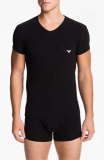 Emporio Armani V Neck Stretch Cotton T Shirt