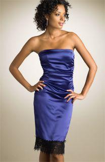 ABS by Allen Schwartz Strapless Lace Trim Dress